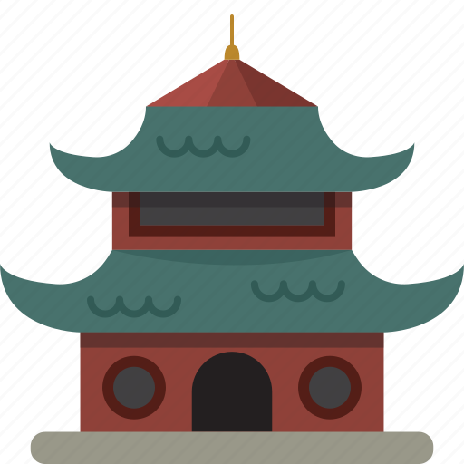 asian, building, oriental, pagoda icon