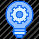 bulb, light, idea, gear, setting, cogwheel