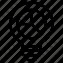 analytics, bulb, graph, idea, light, pie chart icon