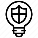 bulb, idea, light, protection, security, shield icon