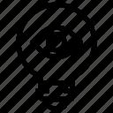 bulb, eye, idea, light, show, view icon
