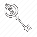 key, money, saving, success icon