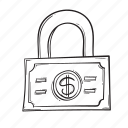 dollar, lock, money, safe icon
