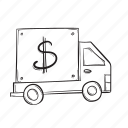 car, currency, finance, money, truck icon