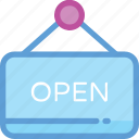 hanging board, open, open board, open sign, open store icon