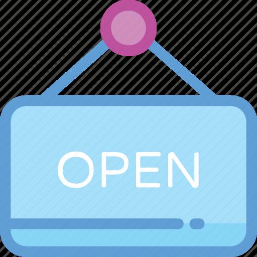 hanging board, open, open board, open sign, open store icon