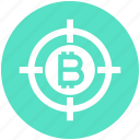 bitcoin, block chain, bulls-eye, coin, cryptocurrency, money, target icon
