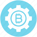 bitcoin, cog, coin, cryptocurrency, gear, rotate, setting icon