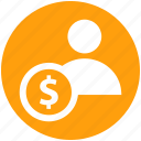 accounting, banking, businessman, dollar, finance, person, user icon