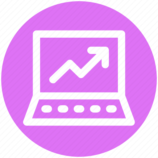 analytics, computer analytics, graph, graph screen, laptop icon