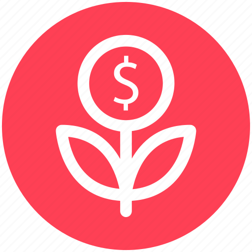 business, coin, dollar, flower, grow, plant icon