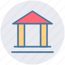 banking, building, columns, court, finance, finance and business, school icon