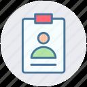 business, card, employee, id, id card, man, user card icon