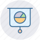 chalkboard, graph presentation, pie chart, pie graph, presentation board icon