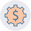cog, dollar, gear, money, online, work icon