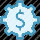 cog, dollar, gear, money, online, work icon