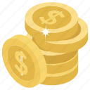 cash, coins, dollar coins, money, pile of coins icon
