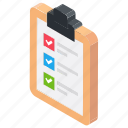 checklist, product list, schedule, survey list, task icon