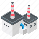 factory building, foundry, industrial building, mill, power plant icon