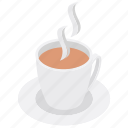 breakfast, hot beverage, hot coffee, hot tea, teacup icon