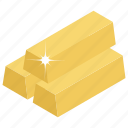 gold bars, gold bricks, gold bullion, gold ingots, gold stack icon