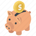 emergency funds, penny bank, piggy bank, retirement assets, savings icon