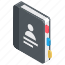 address book, diary, jotter, notebook, personal diary icon