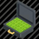 briefcase, business bag, cash case, dollar briefcase, money case icon