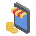 ecommerce, internet purchasing, m commerce, mobile shop, online shopping icon