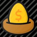 egg, finance, gold, investment, nest, value