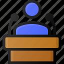 podium, speach, conference, presentation, press icon