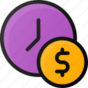 clock, coin, is, money, timeime icon