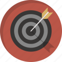 arrrow, bullseye, center, dart, goal, shooting, target icon