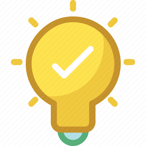 bulb, check mark, checked, light bulb, luminaire icon