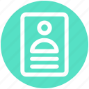 banking, card, contract, document, man, paper, user icon