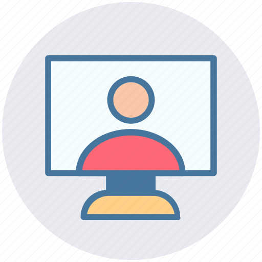 internet, lcd, man, online chat, person, user, video chat icon