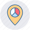 gps, location, map pin, navigation, navigation pie, pie, place icon