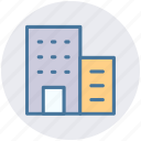 apartment, bank, building, business, center, hotel, office icon