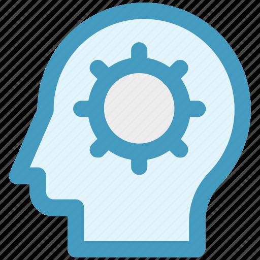 brainstorming, cog, gear, head, logic, strategy icon