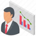 analyst character, business analyst, business presentation, business professional, trading manager icon