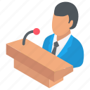business conference, business meeting, business seminar, business speech, businessman speech icon