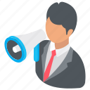 business announcement, business promotion, businessman and megaphone, marketing, marketing campaign icon