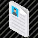 curriculum vitae, job profile, resume, cv, personal informations icon