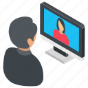 live call, online communication, video call, video chat, video conference icon