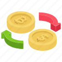 cash exchange, currency exchange, dollar exchange., money exchange, swap icon
