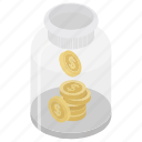 coins collection, coins in jar, donation, saving icon