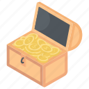 gold box, gold jewels, gold stack, gold storage, treasure chest icon