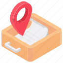 archive navigation, document location, file pin, filing location, navigational concept icon