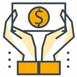 business, cash, funding, hand, money, office icon