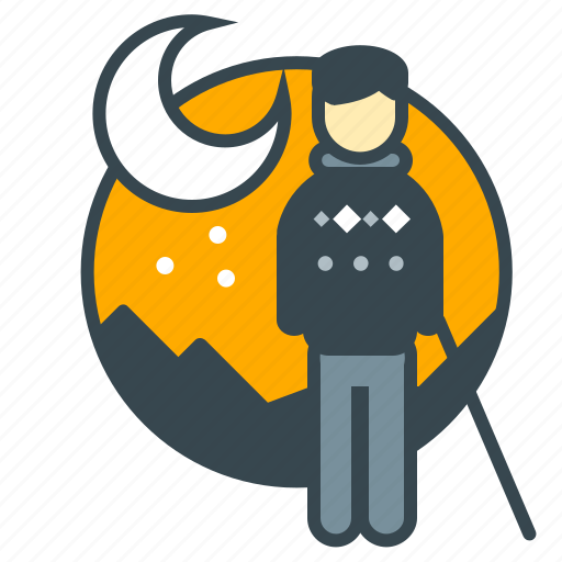 business, employee, hiking, moon, office, retirement, staff icon